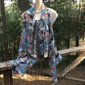 Xhilaration Jackets & Coats - Xhileration print chiffon , high/low flowy vest